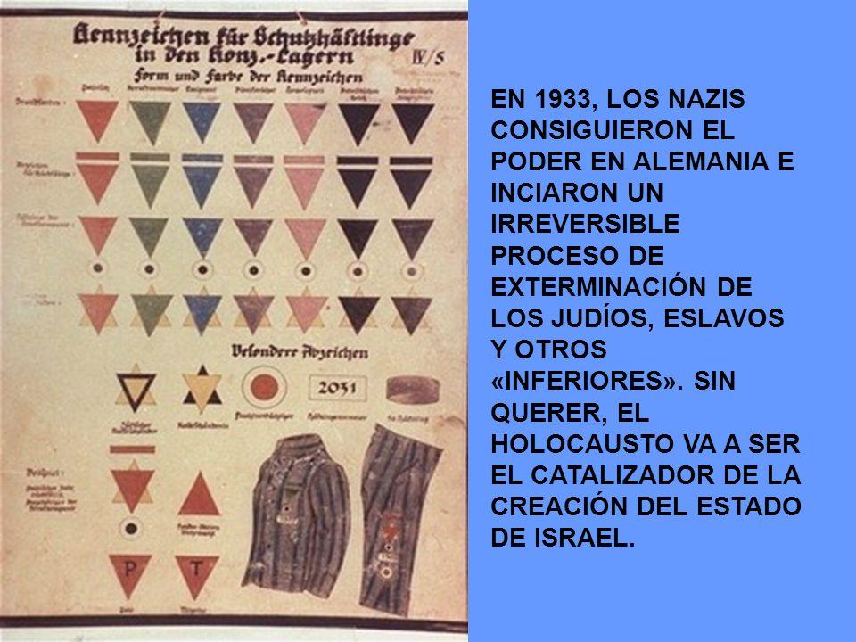 EN 1933, LOS NAZIS CONSIGUIERON EL PODER EN ALEMANIA E INCIARON UN IRREVERSIBLE PROCESO DE EXTERMINACIÓN DE LOS JUDÍOS, ESLAVOS Y OTROS «INFERIORES».