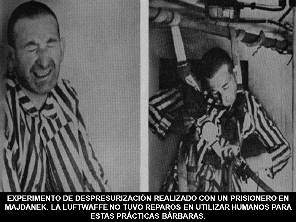 EXPERIMENTO DE DESPRESURIZACIÓN REALIZADO CON UN PRISIONERO EN MAJDANEK. LA LUFTWAFFE NO TUVO REPAROS EN UTILIZAR HUMANOS PARA ESTAS PRÁCTICAS BÁRBARA