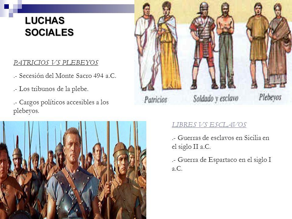 LUCHAS SOCIALES PATRICIOS VS PLEBEYOS.- Secesión del Monte Sacro 494 a.C..- Los tribunos de la plebe..- Cargos políticos accesibles a los plebeyos. LI