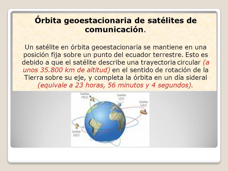 Órbita geoestacionaria de satélites de comunicación. Un satélite en órbita geoestacionaria se mantiene en una posición fija sobre un punto del ecuador