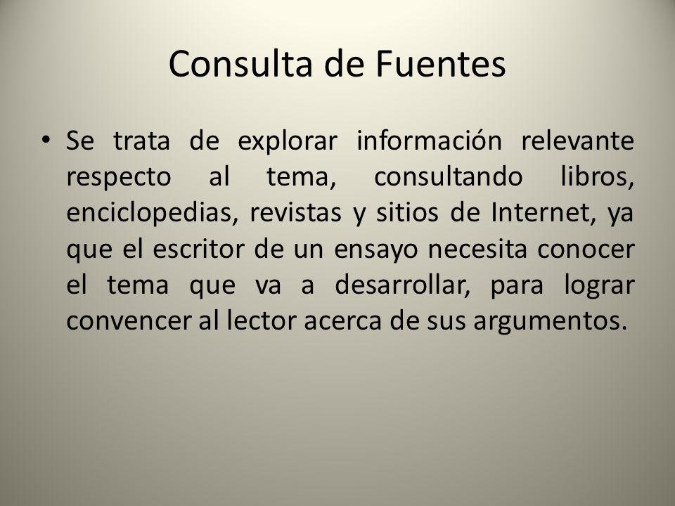 Consulta de Fuentes Se trata de explorar información relevante respecto al tema, consultando libros, enciclopedias, revistas y sitios de Internet, ya
