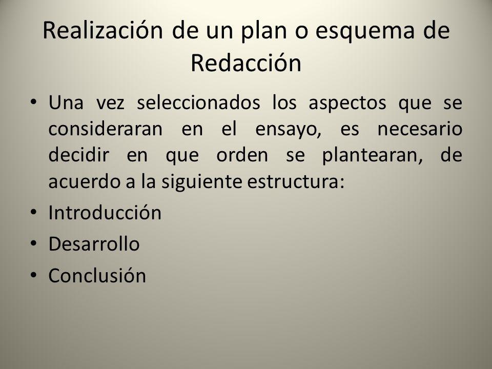 Realización de un plan o esquema de Redacción Una vez seleccionados los aspectos que se consideraran en el ensayo, es necesario decidir en que orden s