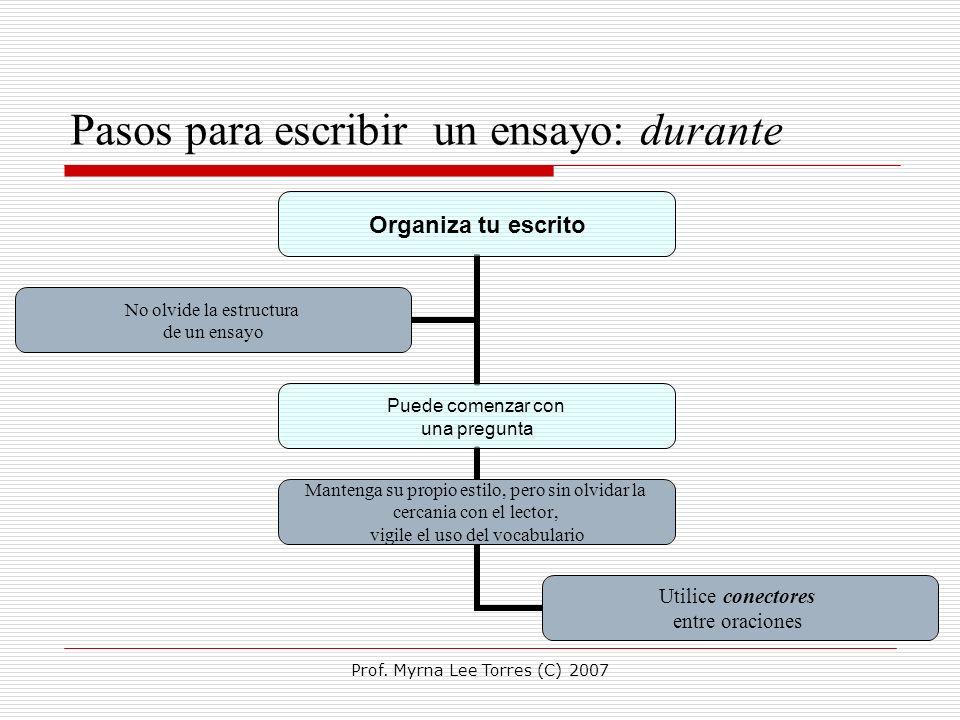 Prof. Myrna Lee Torres (C) 2007 Pasos para escribir un ensayo: durante Organiza tu escrito Puede comenzar con una pregunta Mantenga su propio estilo,