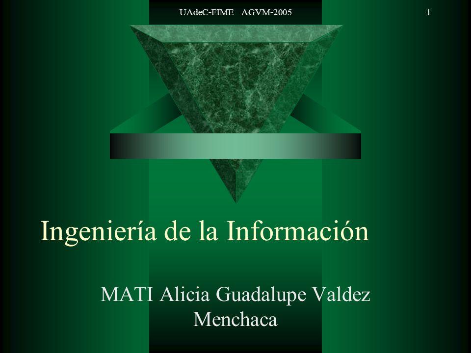 UAdeC-FIME AGVM-20051 Ingeniería de la Información MATI Alicia Guadalupe Valdez Menchaca