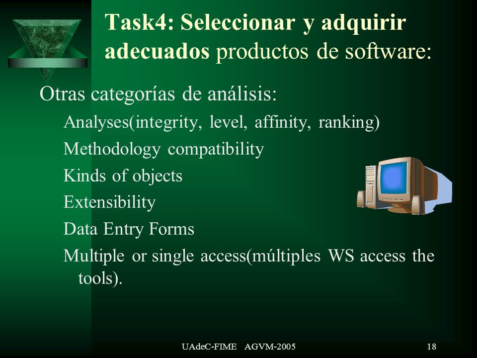 UAdeC-FIME AGVM-200518 Task4: Seleccionar y adquirir adecuados productos de software: Otras categorías de análisis: Analyses(integrity, level, affinity, ranking) Methodology compatibility Kinds of objects Extensibility Data Entry Forms Multiple or single access(múltiples WS access the tools).