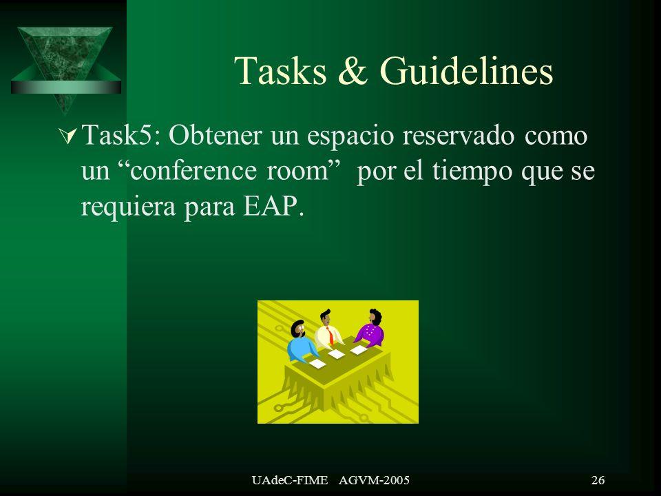 UAdeC-FIME AGVM-200526 Task5: Obtener un espacio reservado como un conference room por el tiempo que se requiera para EAP.