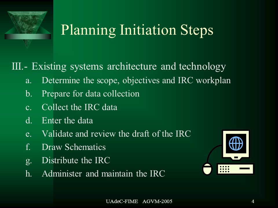 UAdeC-FIME AGVM-20055 Planning Initiation Steps IV.- Definition of the Data Architecture a.List candidate data entities b.Define the entities, attributes and relationships c.Relate the entities to the business functions d.Distribute the data architecture