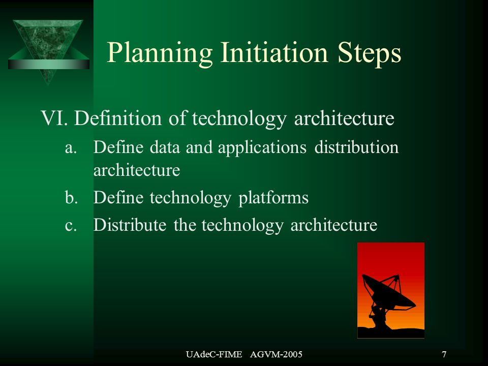 UAdeC-FIME AGVM-20058 VII Formulate implementation strategy and plans a.Sequence the applications b.Estimate the effort and resources and produce a schedule c.Estimate the costs and summarize the benefits of the plan d.Determine the success factors and make recommendations e.Final report f.Final presentation Planning Initiation Steps