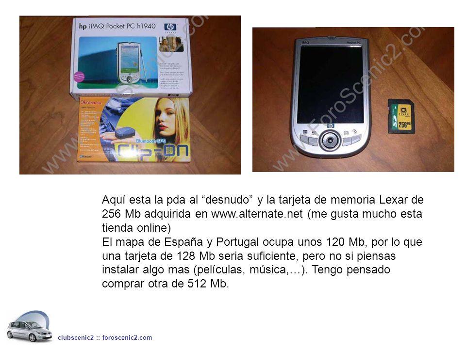 Aquí esta la pda al desnudo y la tarjeta de memoria Lexar de 256 Mb adquirida en www.alternate.net (me gusta mucho esta tienda online) El mapa de Espa