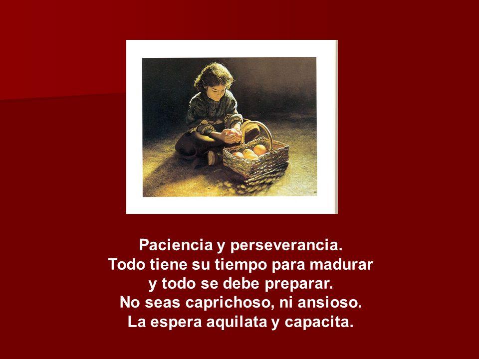 Paciencia y perseverancia.Todo tiene su tiempo para madurar y todo se debe preparar.