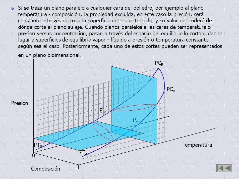 Temperatura Composición Presión 0 1 PT A PT B PC A PC B PAPA PBPB Si se traza un plano paralelo a cualquier cara del poliedro, por ejemplo al plano te