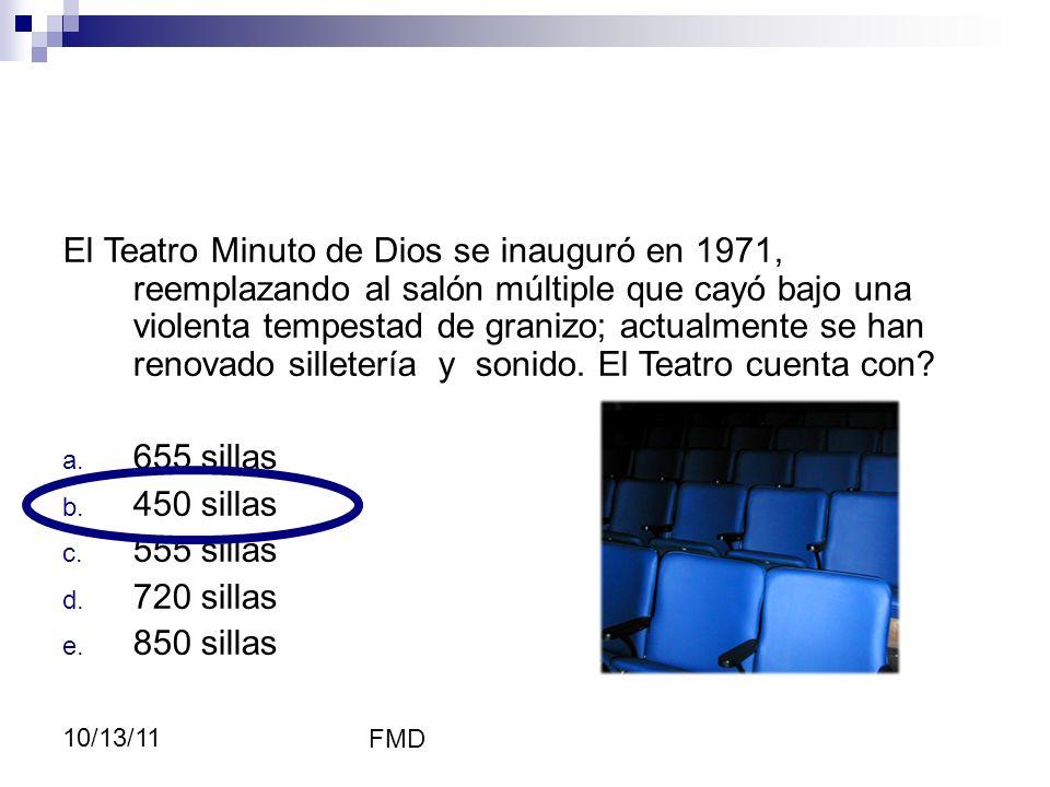 FMD 10/13/11 Cultura El Teatro Minuto de Dios se inauguró en 1971, reemplazando al salón múltiple que cayó bajo una violenta tempestad de granizo; act