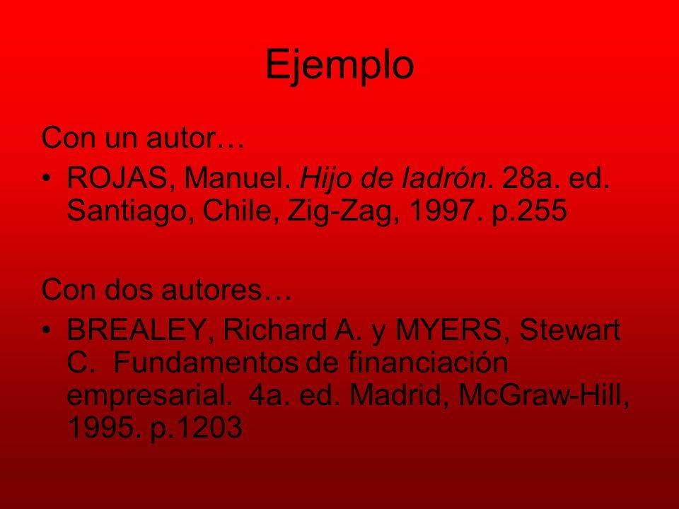 Ejemplo Con un autor… ROJAS, Manuel. Hijo de ladrón. 28a. ed. Santiago, Chile, Zig-Zag, 1997. p.255 Con dos autores… BREALEY, Richard A. y MYERS, Stew