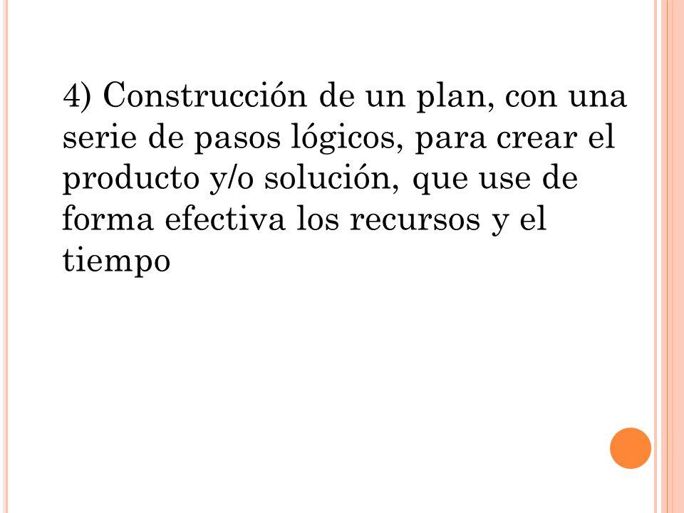 4) Construcción de un plan, con una serie de pasos lógicos, para crear el producto y/o solución, que use de forma efectiva los recursos y el tiempo