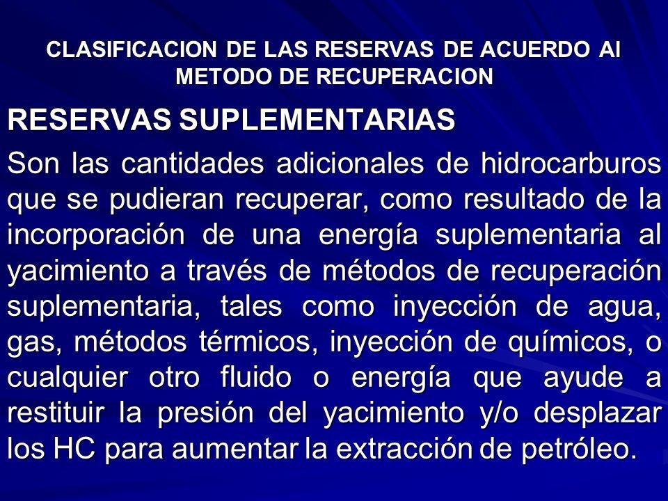 CLASIFICACION DE LAS RESERVAS DE ACUERDO Al METODO DE RECUPERACION RESERVAS SUPLEMENTARIAS Son las cantidades adicionales de hidrocarburos que se pudi