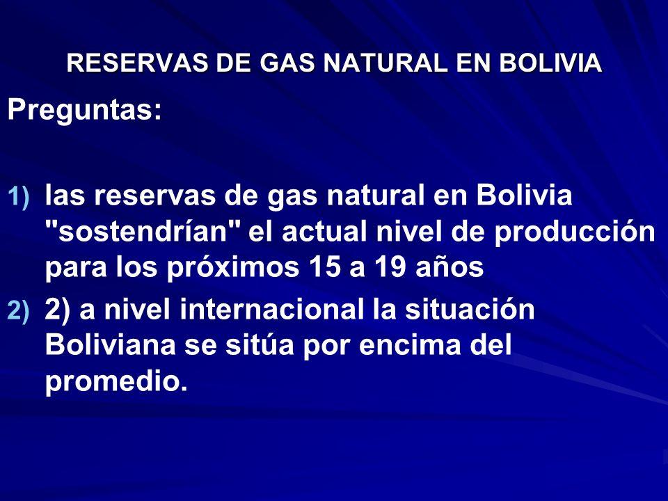 RESERVAS DE GAS NATURAL EN BOLIVIA Preguntas: 1) 1) las reservas de gas natural en Bolivia