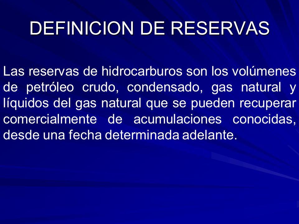 DEFINICION DE RESERVAS Las reservas de hidrocarburos son los volúmenes de petróleo crudo, condensado, gas natural y líquidos del gas natural que se pu