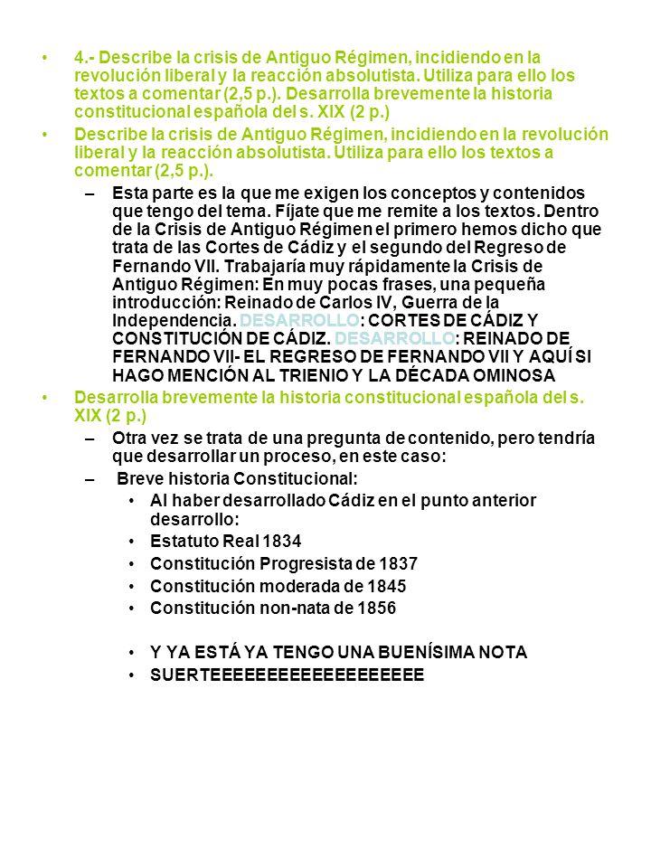 CRISIS DEL ANTIGUO RÉGIMEN (1788-1833) NUCLEO TEMÁTICO EL REINADO DE CARLOS IV (1788-1808 ) LA GUERRA DE LA INDEPENDENCIA (1808-1814) LAS CORTES DE CÁDIZ (1810-1812) LA CONSTITUCIÓN DE CÁDIZ (19 DE MARZO DE 1812) EL REINADO DE FERNANDO VII (1814-1833).- LA RESTAURACIÓN DEL ABSOLUTISMO (1814-1820).- EL TRIENIO LIBERAL (1820-1823).- LA DÉCADA OMINOSA (1823-1833)