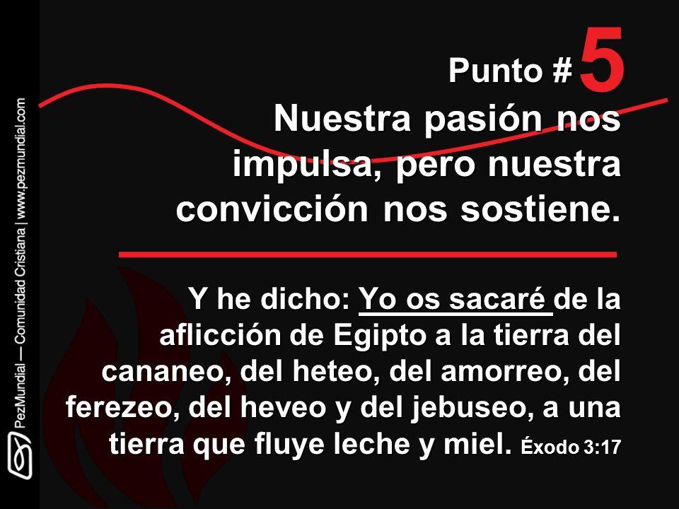 5 Punto # Nuestra pasión nos impulsa, pero nuestra convicción nos sostiene. Y he dicho: Yo os sacaré de la aflicción de Egipto a la tierra del cananeo
