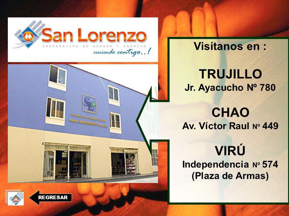 REGRESAR Visítanos en : TRUJILLO Jr.Ayacucho Nº 780 CHAO Av.