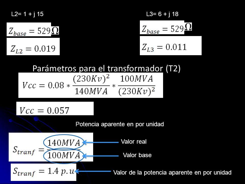 L2= 1 + j 15L3= 6 + j 18 Parámetros para el transformador (T2) Potencia aparente en por unidad Valor real Valor base Valor de la potencia aparente en