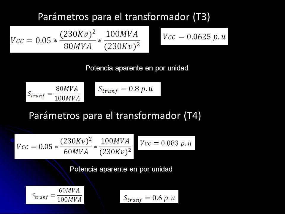 Parámetros para el transformador (T3) Potencia aparente en por unidad Parámetros para el transformador (T4) Potencia aparente en por unidad