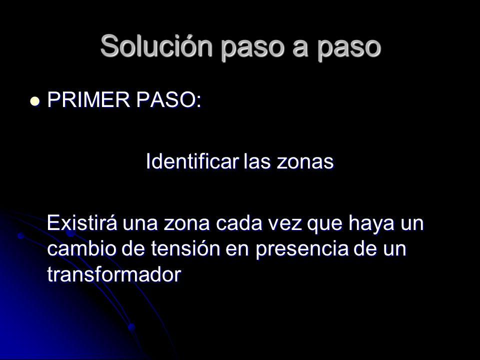 Solución paso a paso PRIMER PASO: PRIMER PASO: Identificar las zonas Existirá una zona cada vez que haya un cambio de tensión en presencia de un trans