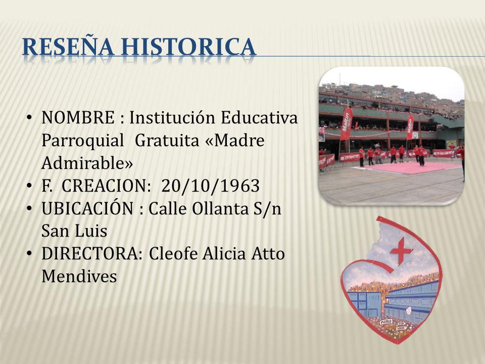 NOMBRE : Institución Educativa Parroquial Gratuita «Madre Admirable» F. CREACION: 20/10/1963 UBICACIÓN : Calle Ollanta S/n San Luis DIRECTORA: Cleofe