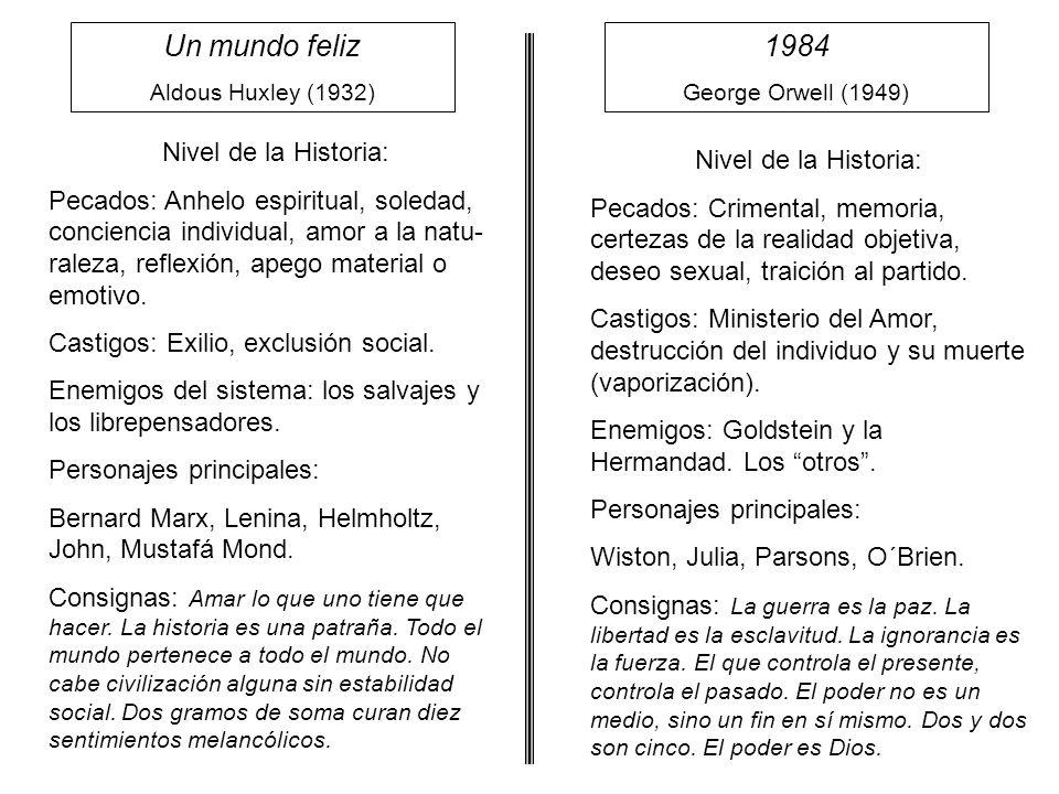 Un mundo feliz Aldous Huxley (1932) 1984 George Orwell (1949) Nivel de la Historia: Pecados: Anhelo espiritual, soledad, conciencia individual, amor a