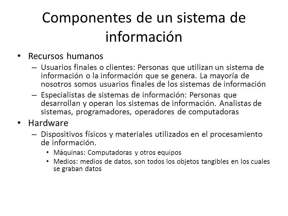 Componentes de un sistema de información Recursos humanos – Usuarios finales o clientes: Personas que utilizan un sistema de información o la informac