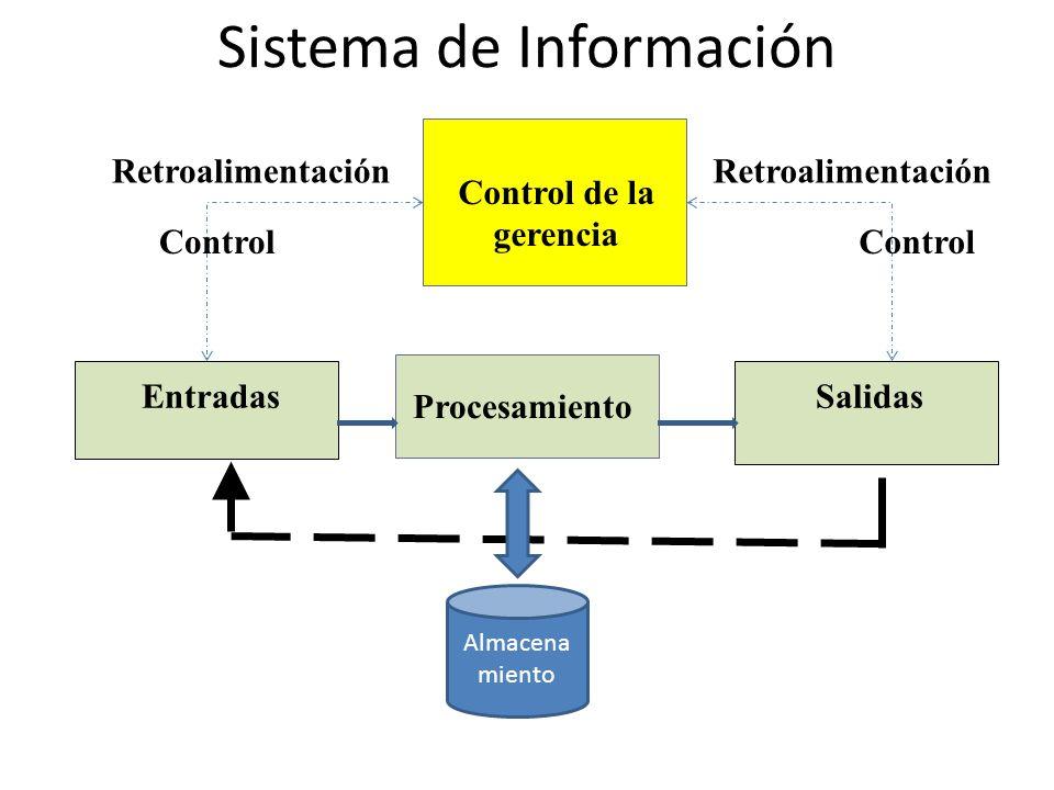 Sistema de Información Entradas Procesamiento Retroalimentación Salidas Control de la gerencia Control Retroalimentación Almacena miento