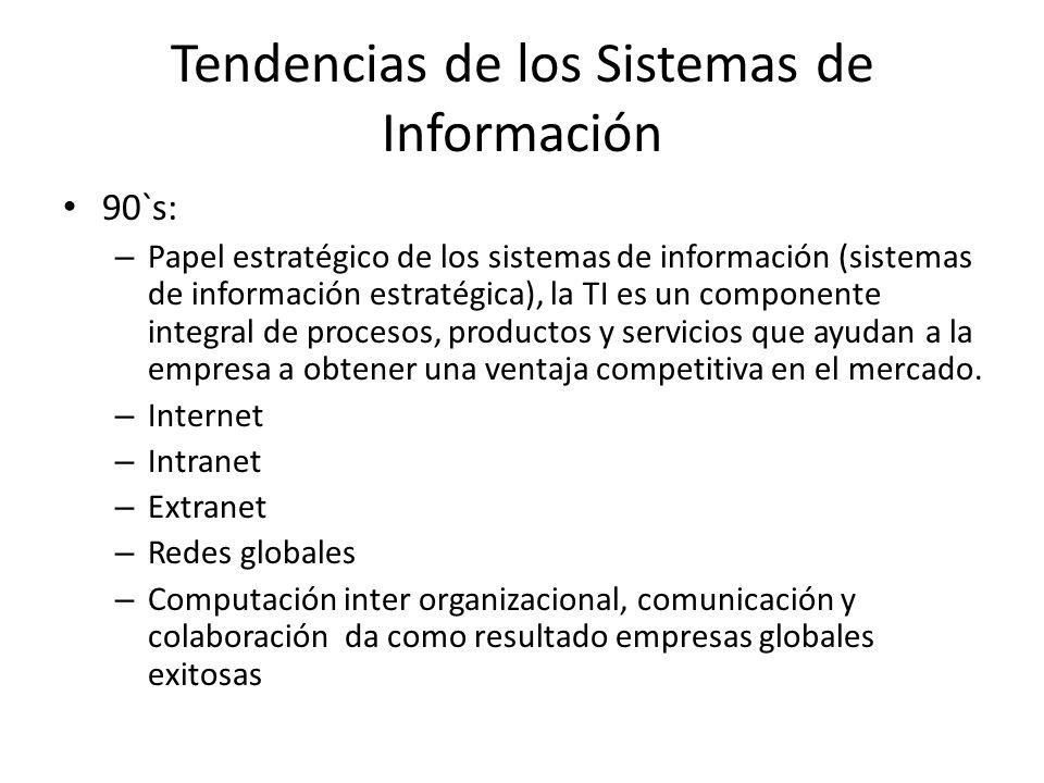 Tendencias de los Sistemas de Información 90`s: – Papel estratégico de los sistemas de información (sistemas de información estratégica), la TI es un