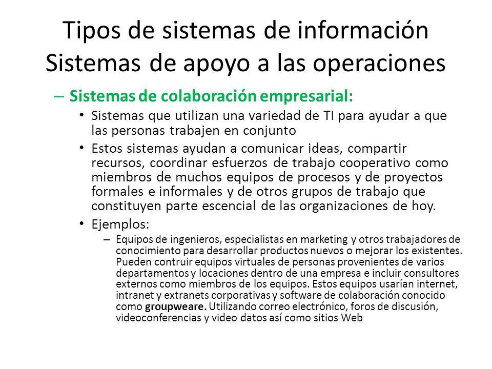 Tipos de sistemas de información Sistemas de apoyo a las operaciones – Sistemas de colaboración empresarial: Sistemas que utilizan una variedad de TI