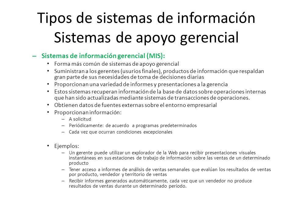 Tipos de sistemas de información Sistemas de apoyo gerencial – Sistemas de información gerencial (MIS): Forma más común de sistemas de apoyo gerencial