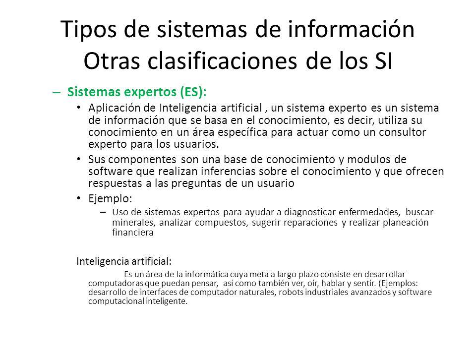 Tipos de sistemas de información Otras clasificaciones de los SI – Sistemas expertos (ES): Aplicación de Inteligencia artificial, un sistema experto e