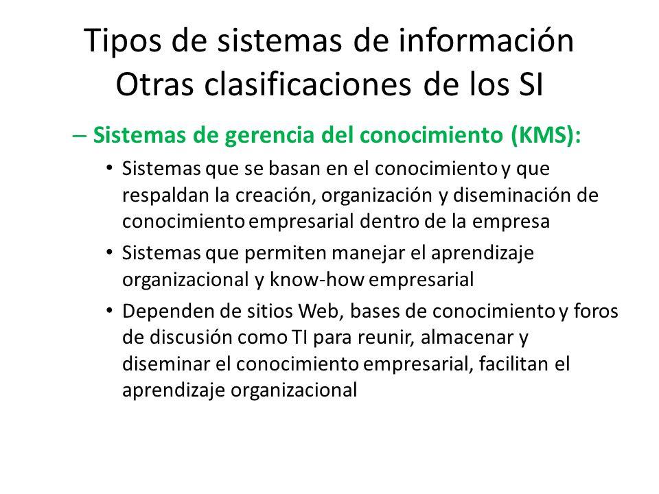 Tipos de sistemas de información Otras clasificaciones de los SI – Sistemas de gerencia del conocimiento (KMS): Sistemas que se basan en el conocimien