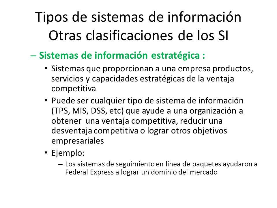 Tipos de sistemas de información Otras clasificaciones de los SI – Sistemas de información estratégica : Sistemas que proporcionan a una empresa produ