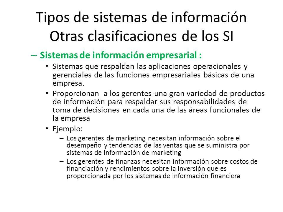 Tipos de sistemas de información Otras clasificaciones de los SI – Sistemas de información empresarial : Sistemas que respaldan las aplicaciones opera