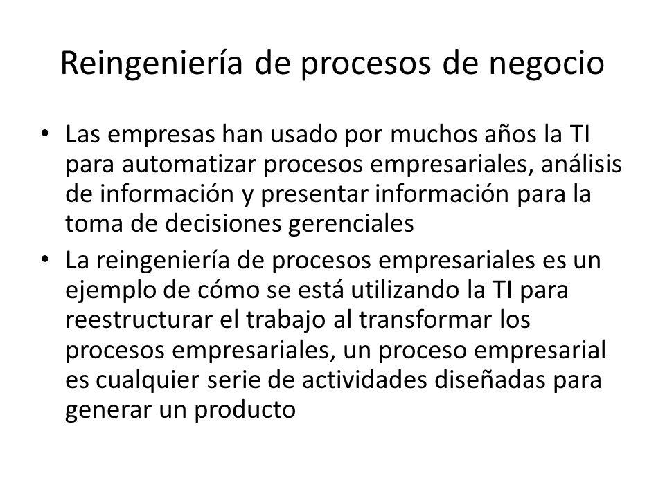 Reingeniería de procesos de negocio Las empresas han usado por muchos años la TI para automatizar procesos empresariales, análisis de información y pr