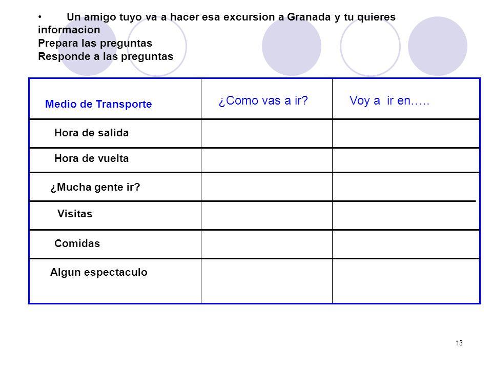 13 Un amigo tuyo va a hacer esa excursion a Granada y tu quieres informacion Prepara las preguntas Responde a las preguntas Medio de Transporte Hora d