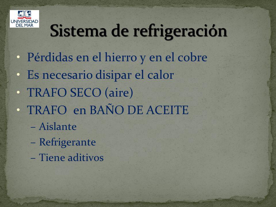 Sistema de refrigeración Pérdidas en el hierro y en el cobre Es necesario disipar el calor TRAFO SECO (aire) TRAFO en BAÑO DE ACEITE –Aislante –Refrig
