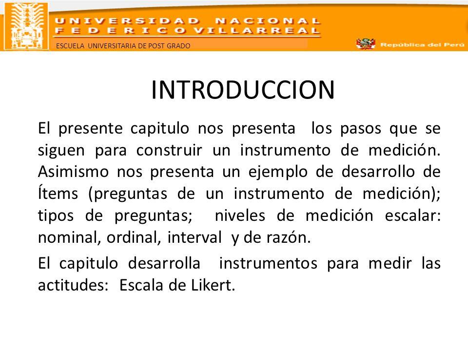 ESCUELA UNIVERSITARIA DE POST GRADO INTRODUCCION El presente capitulo nos presenta los pasos que se siguen para construir un instrumento de medición.
