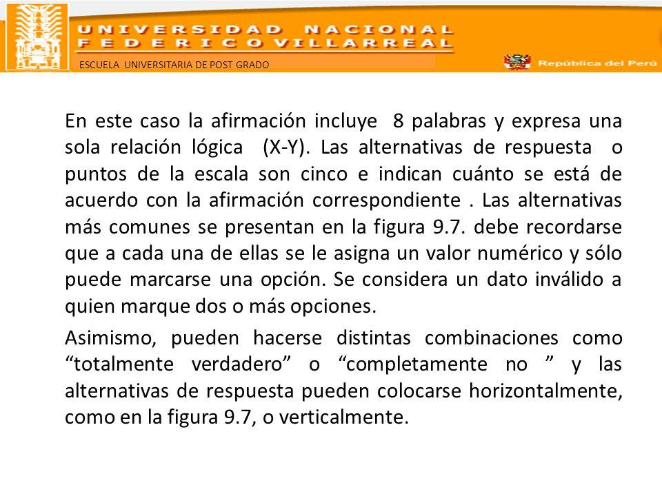 ESCUELA UNIVERSITARIA DE POST GRADO En este caso la afirmación incluye 8 palabras y expresa una sola relación lógica (X-Y). Las alternativas de respue