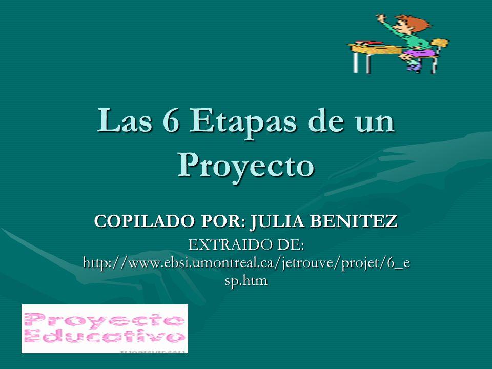 Las 6 Etapas de un Proyecto COPILADO POR: JULIA BENITEZ EXTRAIDO DE: http://www.ebsi.umontreal.ca/jetrouve/projet/6_e sp.htm
