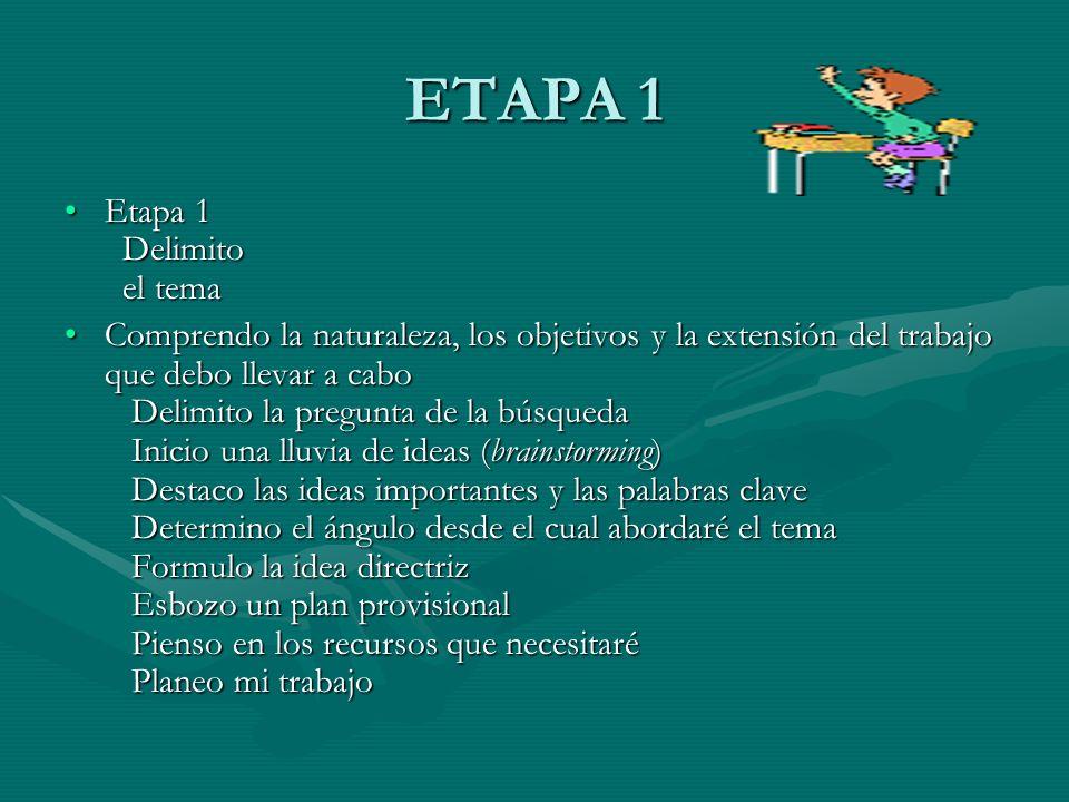 ETAPA 1 Etapa 1 Delimito el temaEtapa 1 Delimito el tema Comprendo la naturaleza, los objetivos y la extensión del trabajo que debo llevar a cabo Delimito la pregunta de la búsqueda Inicio una lluvia de ideas (brainstorming) Destaco las ideas importantes y las palabras clave Determino el ángulo desde el cual abordaré el tema Formulo la idea directriz Esbozo un plan provisional Pienso en los recursos que necesitaré Planeo mi trabajoComprendo la naturaleza, los objetivos y la extensión del trabajo que debo llevar a cabo Delimito la pregunta de la búsqueda Inicio una lluvia de ideas (brainstorming) Destaco las ideas importantes y las palabras clave Determino el ángulo desde el cual abordaré el tema Formulo la idea directriz Esbozo un plan provisional Pienso en los recursos que necesitaré Planeo mi trabajo