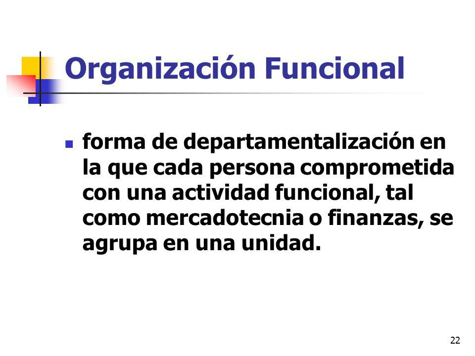 22 Organización Funcional forma de departamentalización en la que cada persona comprometida con una actividad funcional, tal como mercadotecnia o fina