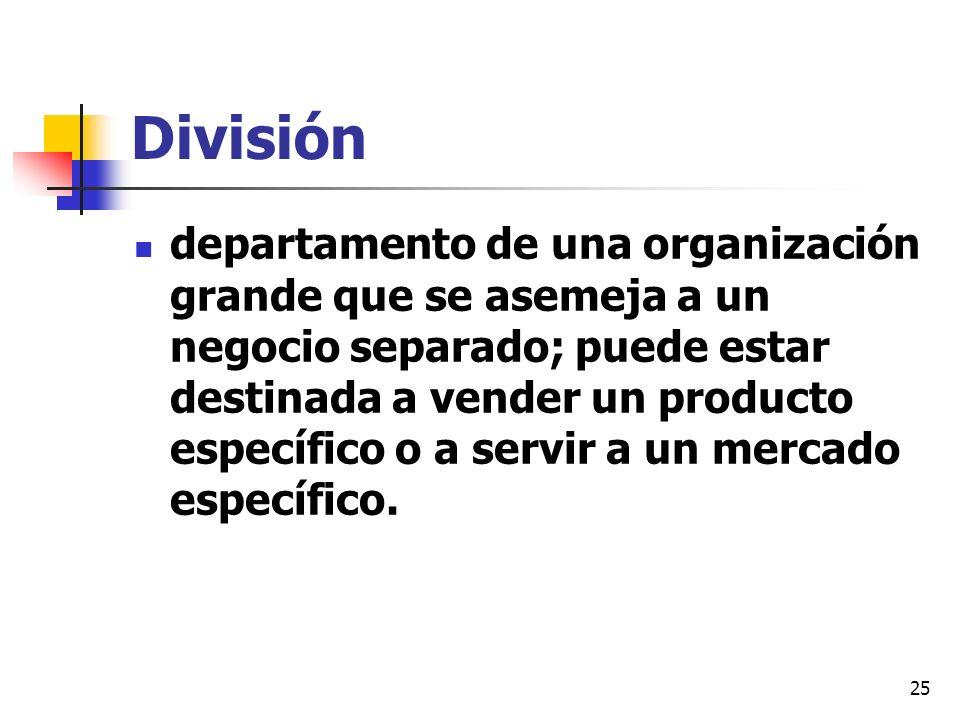 25 División departamento de una organización grande que se asemeja a un negocio separado; puede estar destinada a vender un producto específico o a se