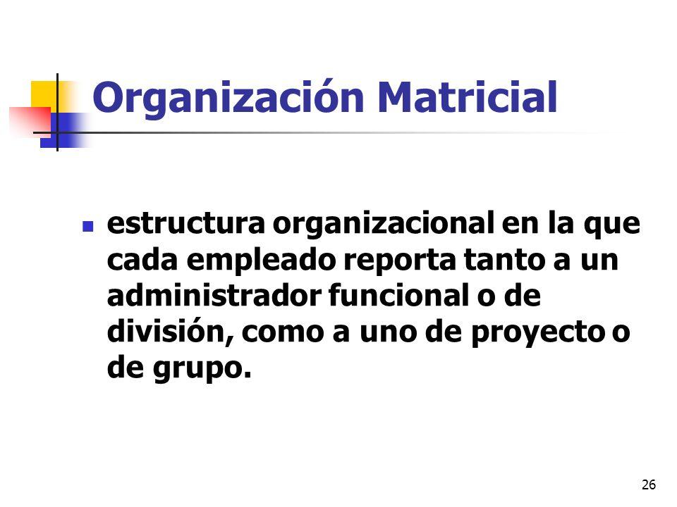 26 Organización Matricial estructura organizacional en la que cada empleado reporta tanto a un administrador funcional o de división, como a uno de pr
