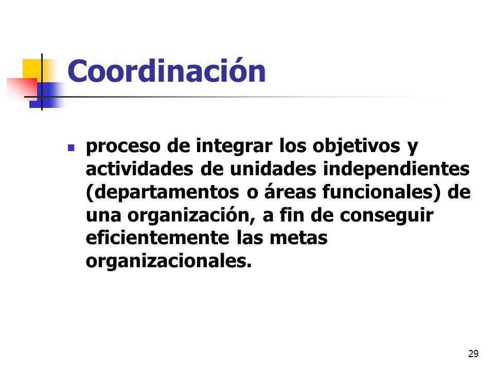 29 Coordinación proceso de integrar los objetivos y actividades de unidades independientes (departamentos o áreas funcionales) de una organización, a