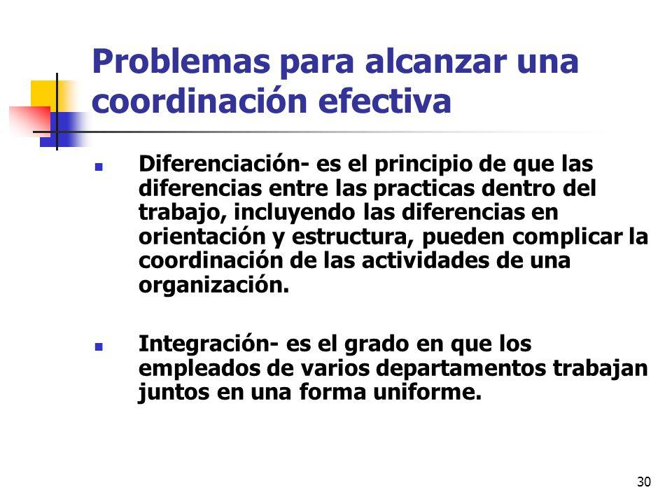 30 Problemas para alcanzar una coordinación efectiva Diferenciación- es el principio de que las diferencias entre las practicas dentro del trabajo, in